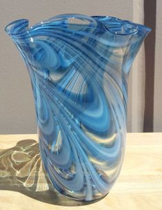 "Murano+Art+Glass+Vases+|+New+11""+Hand+Blown+Glass+Murano+Art+Style+Vase+Blue+Handkerchief+..."