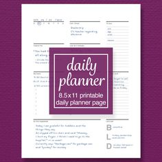 Daily Schedule and To-Do List Printable Planner by sassyplanners To Do Lists Printable, Printable Planner Pages, Printables, Daily Planner Pages, Binder Inserts, Binder Organization, Day Planners, Inspirational Message, Letter Size