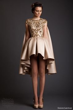 krikor jabotian spring 2014 couture cap sleeve gold asymmetric hem dress with cape