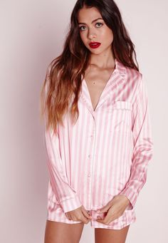Stripes are on our wish list this seasons and when it comes to nightwear, we've got your covered! We've fallen in love with this silky feel PJ set. In a girly pink and white striped finish, this long sleeve button up shirt and shorts set wi...