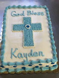 Beautiful Baby Blue Cross baptism cake  at Naegelin's bakery