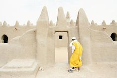 Images of Mali: Man Entering Mosque, Senissa, Mali