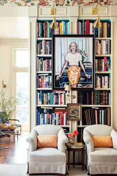 home library with paintings