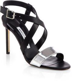 Manolo Blahnik Strepitopla Leather Crisscross Sandals in Silver (BLACK SILVER)
