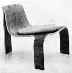 Autor: Jose Dodero Tipo: Butaca Subtipo: Butaca. Primer premio EXCO Año: 1961 Descipción: Diseño original de gran valor plástico que utiliza las propiedades de la madera moldeada prensada.