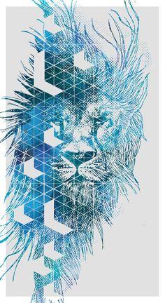 48 Ideas For Tattoo Lion Geometric Behance Leo Tattoos, Future Tattoos, Body Art Tattoos, Sleeve Tattoos, Tattoos For Guys, Tatou Animal, Tattoos Schulter, Geometric Lion Tattoo, Petit Tattoo