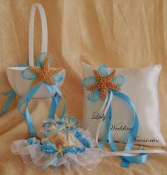 Beach Wedding, Flower Girl Basket and Ring Bearer Pillow Set,  Real Starfish and You Choose Your Color. $45.00, via Etsy.