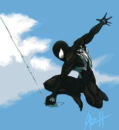 Venom Gouache Art by on DeviantArt Spiderman Suits, Black Spiderman, Spiderman Art, Amazing Spiderman, Spiderman Symbiote, Marvel Art, Marvel Heroes, Marvel Characters, Marvel Venom