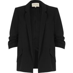 River Island Black ruched sleeve blazer ($77) ❤ liked on Polyvore featuring outerwear, jackets, blazers, coats, coats & jackets, black, lapel jacket, tall blazer, river island blazer and slim jacket