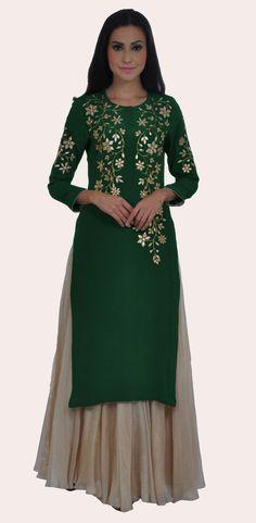 Eid 2017 Collection: Mehandi Green Hand Embroidered Gota Patti Kurta With Skirt Designer Dress For Men, Indian Designer Wear, Designer Dresses, Kurta Designs Women, Blouse Designs, Dress Designs, Indian Dresses, Indian Outfits, Gota Patti Lehenga