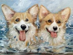 SPARROW PEMBROKE WELSH CORGI Original oil painting dog art CORGIAID ocean beach
