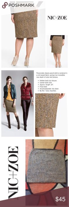 NEW!  NIC+ZOE Tweed flirt pencil skirt- plus size Brand new 'Tweed Flirt' skirt by NIC+ZOE is super gorgeous, ultra-flattering and a rare-find!  Featuring a fully lined interior with a beautiful, earth-toned tweed exterior that's neutral to pair effortlessly with your favorite tops!  This skirt is truly a must-have piece for nearly year-round wear!  Retails at $138!  Brand new, never worn!  Size is 22W.  No trades please. NIC + ZOE Skirts Pencil