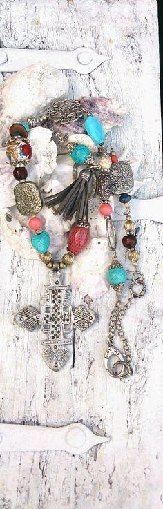 Boho Cross Necklace Bohemian Jewelry by SecretStashBoutique