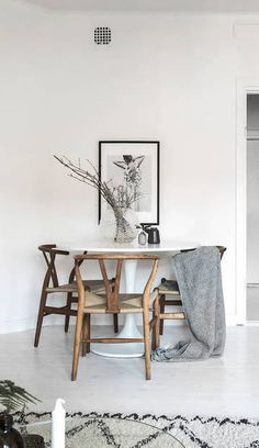 Coco Lapine Design: contemporary design, cosy home with Hans J. Wegner Danish designed Wishbone Chair by Carl Hansen & Søn