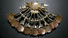 Vintage Gold Tone and Mother of Pearl Brooch. by TheLatibule on Etsy