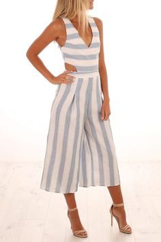 88dfcaa87835 Left Wanting Jumpsuit Blue Stripe I would like the dress version of this  Jumpsuit Outfit