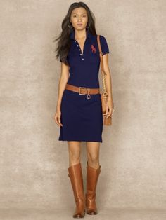 Shiny Big Pony Dress - Blue Label Short Dresses - RalphLauren.com