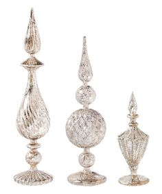 This Silver Glass Tabletop Finial Set is perfect! #zulilyfinds