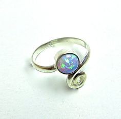 Opal and Spiral Sterling Silver Ring Band Simple and Cute October Birthstone