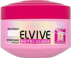 L'oreal Elvive Nutri-gloss.  This is the ultimate in home hair care.  The intensive shine masque really does what it says...SHINE and a cashmere feel.