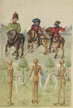 Three Living and the Three Dead. Bibliothèque nationale de France, Français 445, f. 217r. 15th century
