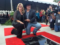 Trisha Yearwood and Garth Brooks at the September 10, 2015 Walk of Fame Induction Ceremony in Nashville, Tennessee.