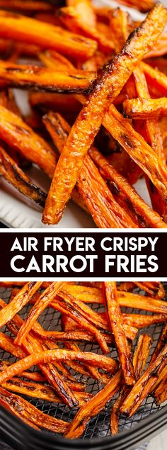 These crispy Air Fryer Carrot Fries are an easy 3 ingredient side dish or healthy snack that will satisfy that salty craving! #AirFryerAppetizer #CarrotFries #AirFryerFries #Roasted Carrots