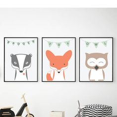 Woodland animals Fox Badger Owl Nursery decor Pastel