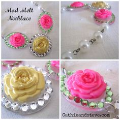 Cathie Filian: DIY Neon and Gold Rose Necklace with Mod Melts