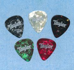 Taylor guitar picks heavy gauge set of 5 different colors  #Taylor #GuitarPicks