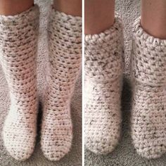 This is the simplest pattern ever! So quick and beautiful and perfect to keep to your feet warm even when it's cold outside. Pretty fashionable too, don't you think? Slipper Boots  I used almost four balls of the Lion Brand Hometown USA yarn in Aspen Tweed to get the height that I did. At 2