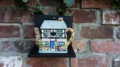 Quirky teapot bird house, nest box. Up-cycled vintage village tea shop teapot, nesting box. Unique garden ornament, gift, garden decor - pinned by pin4etsy.com