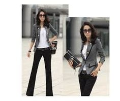 a92861939cc Gray and black blazer Suit Jackets For Women