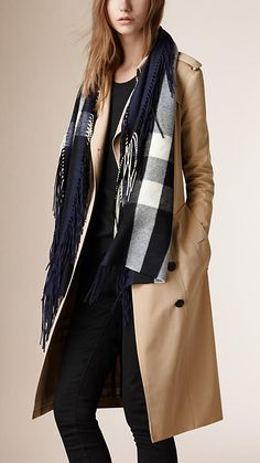 Burberry Dark Indigo The Fringe Scarf in Check Cashmere - A long check scarf crafted from soft cashmere woven in Scotland.  Discover the scarves collection at Burberry.com