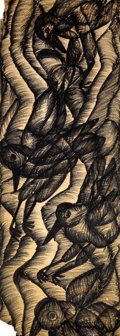 Gladys Mgudlandlu (1917-1979). FOUR BIRDS undated. Pen and ink on paper, 70 x 26cm. Birds, Artists, Ink, Texture, Paper, Crafts, Kunst, Manualidades, Bird
