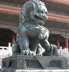 The Chinese imperial guardian lion, also called a Fu Lion or Foo Dog.