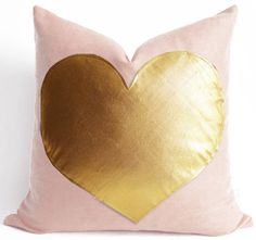 Sukan / Pink and Gold Pillow white and gold pillow by sukanart, $35.60 the heart is awkward but the colors.... @Caroline Carnett