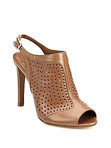 Prada - Perforated Leather Bootie Sandals