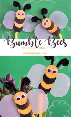 Milk Jug Bumble Bees Craft Garden Stakes #kids #summer #spring #garden #bees #craft