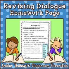 Revising Dialogue Homework or Printable Distance Learning Page Reading Lesson Plans, Reading Lessons, Writing Lessons, Writing Skills, Fourth Grade Writing, 2nd Grade Reading, Mentor Sentences, Mentor Texts, Expository Writing