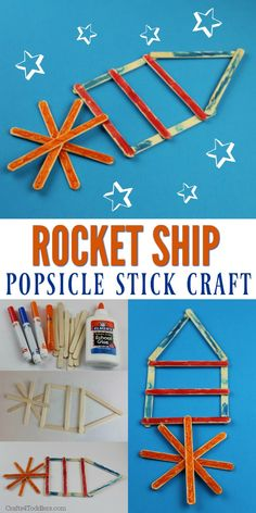 This Popsicle Stick Rocket Ship Craft for Kids is so easy and fun! #craftideas #kidcrafts