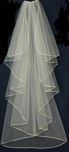 Satin Cord Edge Custom Made Waterfall Wedding Veil V5720