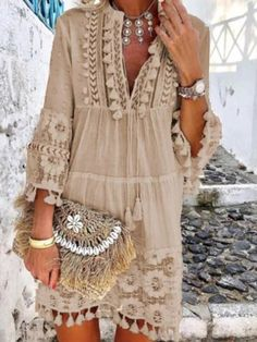 Bohemian Style 467530005068318875 - v neck Boho Chic Dress Women solid tassel summer linen bohemian style dress long sleeve Plus Size hipple Dresses femme Source by Bohemian Style Dresses, Boho Dress, Lace Dress, Chic Dress, Dress Long, Boho Style, Fringe Dress, Boho Outfits, Boho Summer Outfits