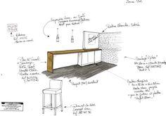 Création ilot bar , ouverture de la cloison existante entre le salon et la cuisine . Book Conseil