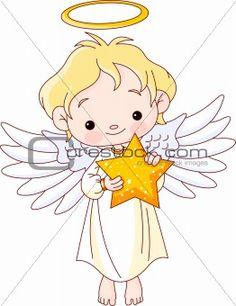 cartoon+angel | Image Description: Cute baby angel with Christmas star