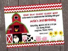 Farm Birthday Invitation - Barn Animals, Pig, Chicken, Sheep and Cow on Etsy, $1.00