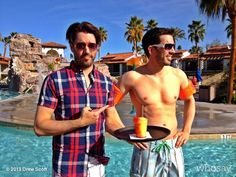 When swimming it's safety first for me..and cocktail first for @MrSilverScott Good times at @rancholaspalmas @HGTV