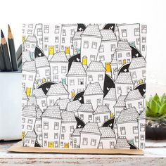 Original illustration Hometown as a blank gift card featuring quirky terrace houses and a hidden cat. Designed in Staffordshire and made in the UK. This card is inspired by my hometown of Shrewsbury with its quirky terraced houses, originally hand drawn i Desenho Kids, Art Sketches, Art Drawings, Drawing Art, Frida Art, House Illustration, Art Abstrait, Clipart, Doodle Art