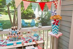 Teal And Red W/ Chevron Stripes. Baby Shower. Love this color combo for boy & girl baby shower.