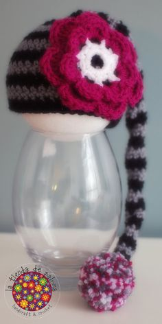 READY TO SHIP  Crochet hat with long tail and pom pom by palomapch, $25.00